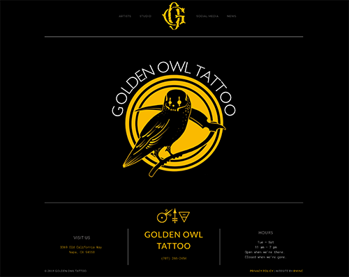 tattoo shop website design